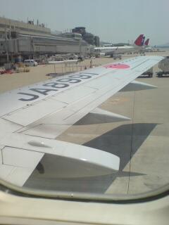 福岡空港の機内
