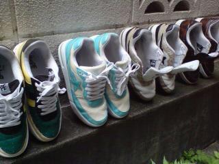 洗濯された靴たち